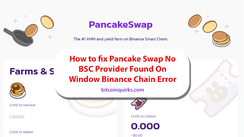 how to fix pancake swap no bsc provider found error